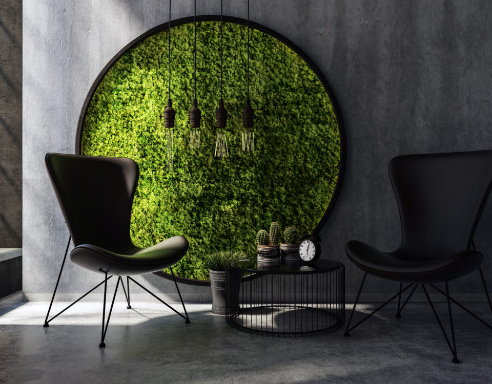 Motyw natury we wnętrzach - ściana z mchu